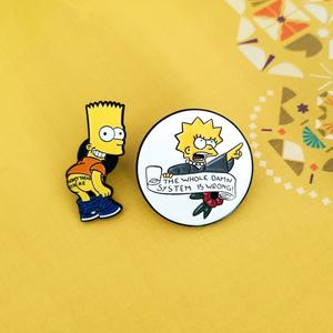 New Factory custom pin badge custom cartoon soft enamel Simpson cartoon anime badge