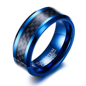 Blue Tungsten Rings for Men Wedding Bands 8mm Men's Carbon Fiber Tungsten Carbide Men Ring Matte Wedding Band Ring