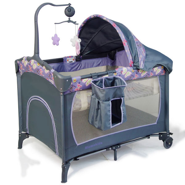 Mamakids H29 china manufacturer baby products plastic rocking crib with toys and wheels
