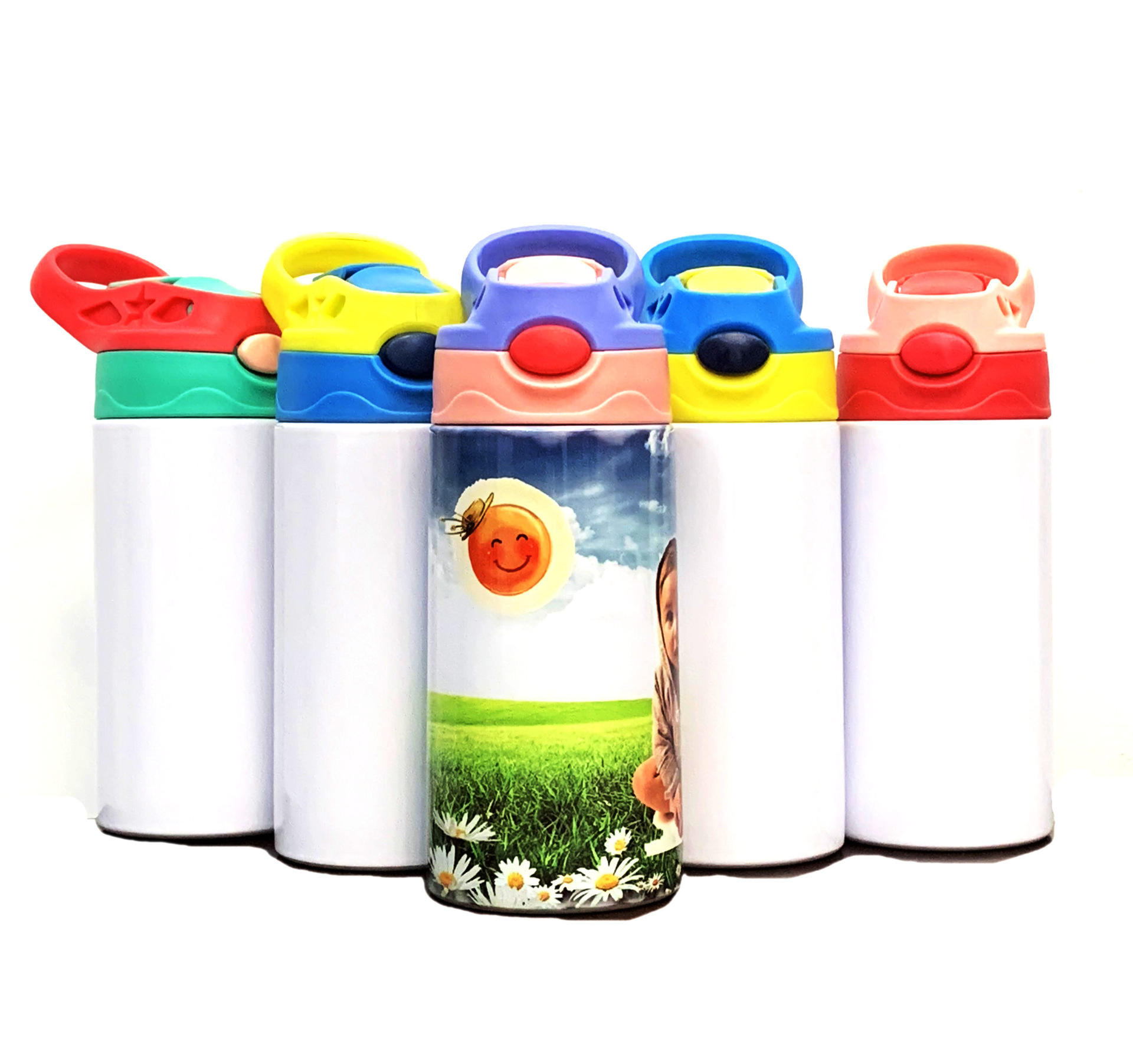 Fashion DIY Sublimation Blanks Stainless Steel Double Wall Kid Bottle Tumbler with Spout Straw Lid