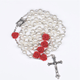 2019 Hot sell Rosary 6mm plastic pearl with rose flower beads Jesus Cross Christ Maria stock necklace for pray