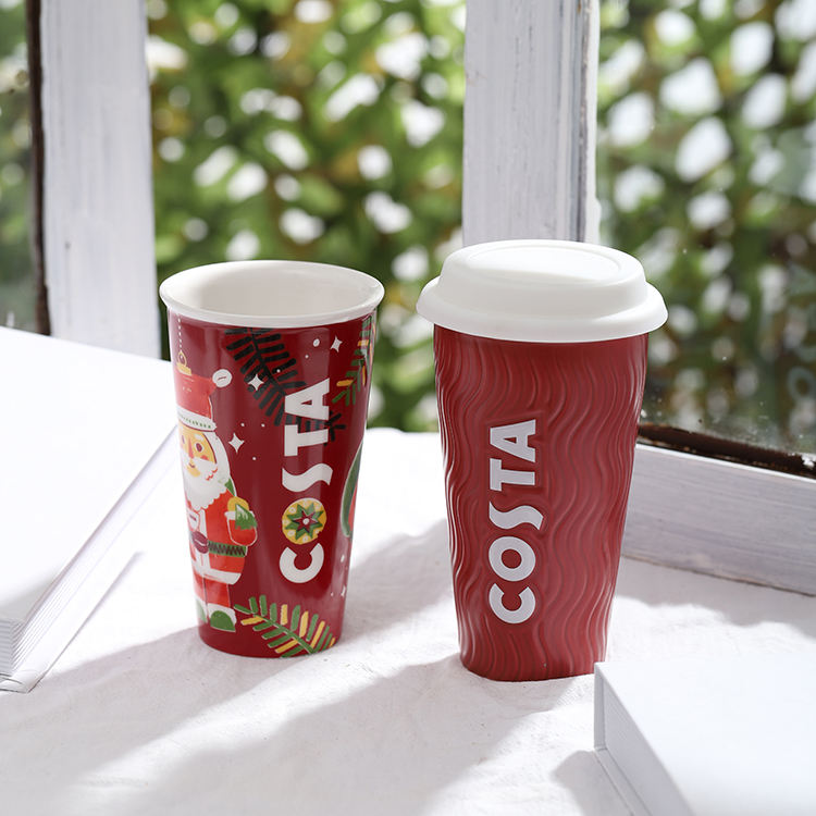 Wholesale decal printed christmas gift european style red leakproof coffee travel mug with silicone lid