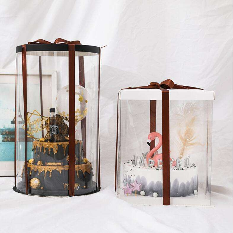 8 colors available transparent border clear tall cake box paper lid flat shipping box for 8 inch cakes