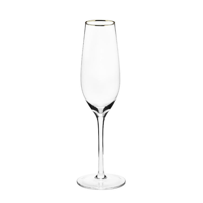 wholesale stocked bar use 220ml transparent champagne round glass goblet bubble cup wine cup with gold lip