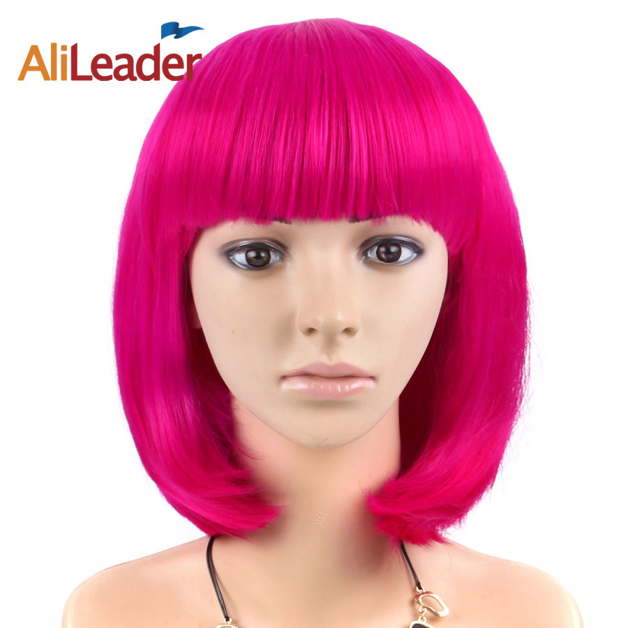 AliLeader Fcctory Price 23 Colors Straight Fashion Synthetic Short Bobo Wigs For Cosplay