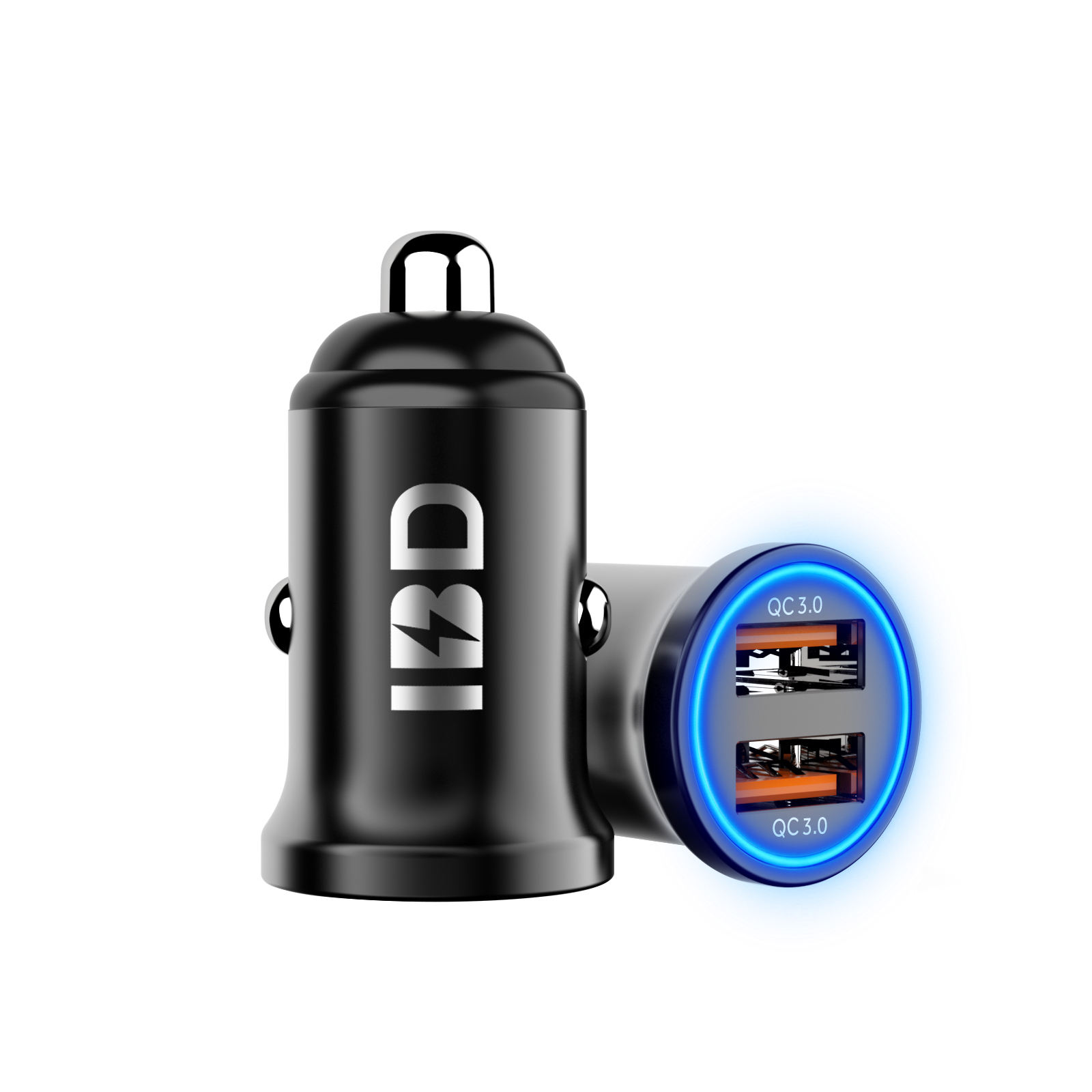IBD 2020 High Quality Dual Port QC 3.0 36W Car Charger Metal Shall Mini usb Car Charger With Blue Led