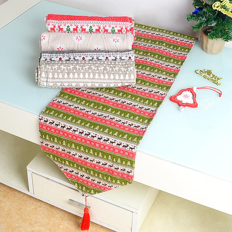 Christmas ornaments customized Linen and cotton Table Runner