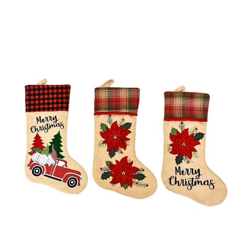 2020 Linen Plaid Floral Santa Stocking Oversize Candy Gifts Bag Merry Christmas Tree Hanging Decoration