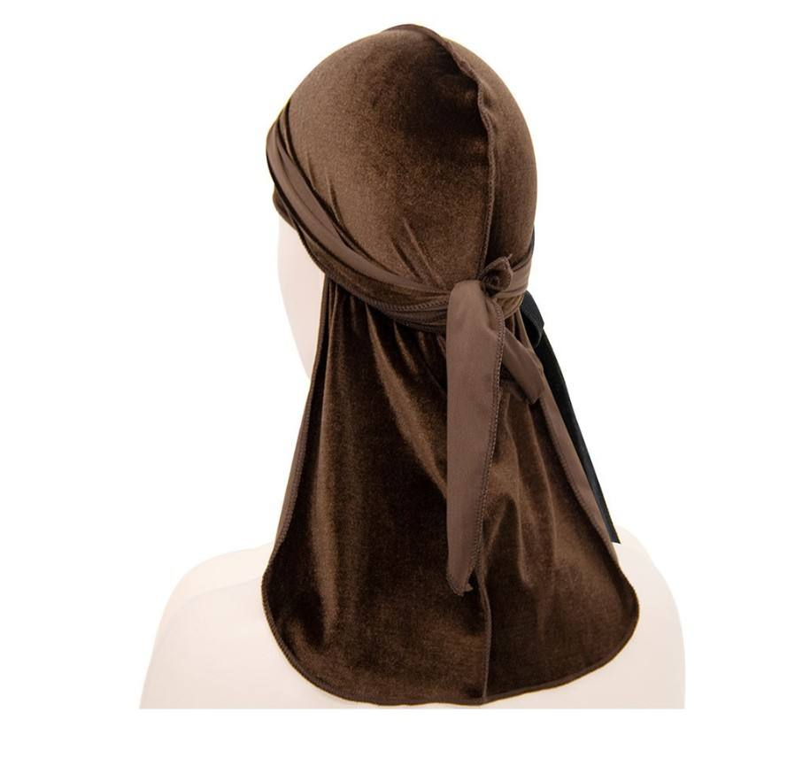 Hot selling soft velvet long pirate durag cap designer bonnets and durags headwear custom headband