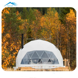 Outdoor 8 meters diameter PVC fabric clear dome tents camping house shelter tent with bathroom