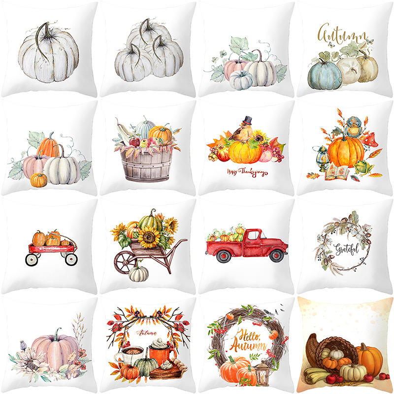 In Stock Low Moq Fall Harvest Throw Pillow Cases Pumpkin Halloween Thanksgiving day Home Cushion decorate Sofa Pillow cover