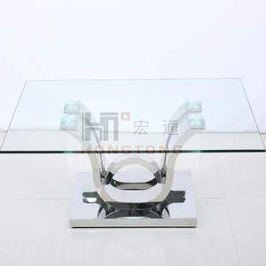 Clear transparent tempered glass Chrome stainless steel base coffee table