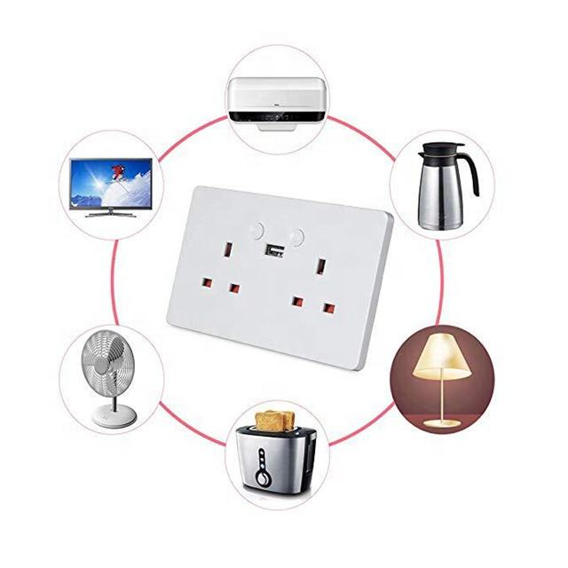 remote control alexa voice tuya ewelink app Smart UK standard double Wall Socket Two Outlets 2 phone USB Wifi Wall Socket