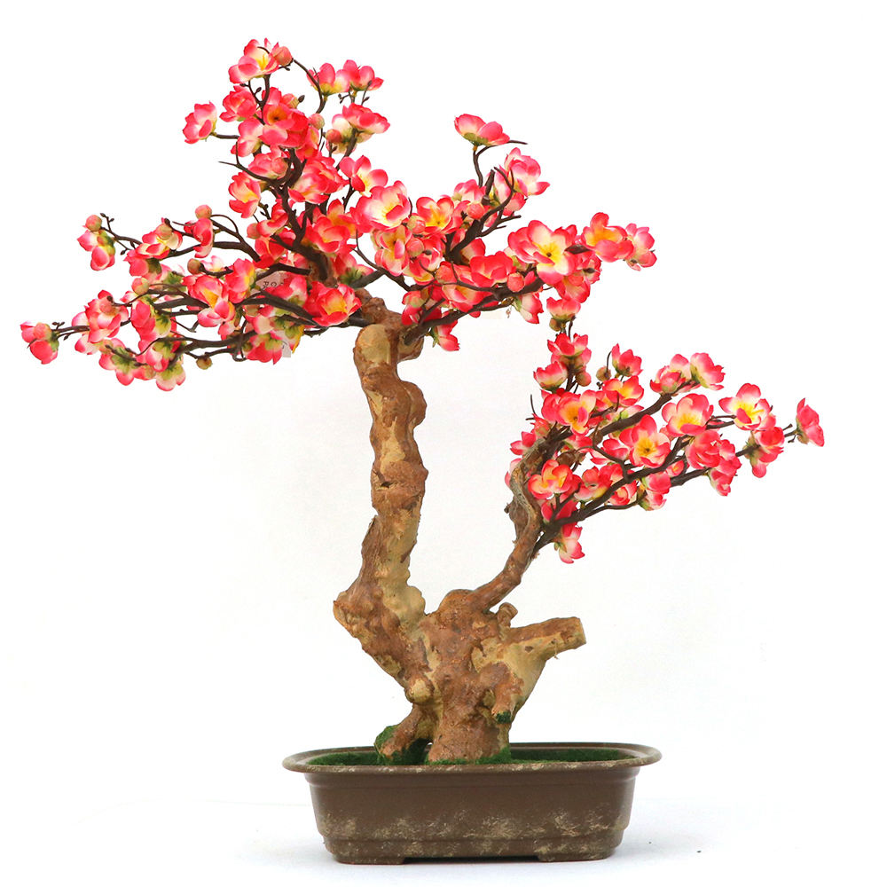 Red Small Ornamental Plants Artificial Plum Bonsai Tree for Office