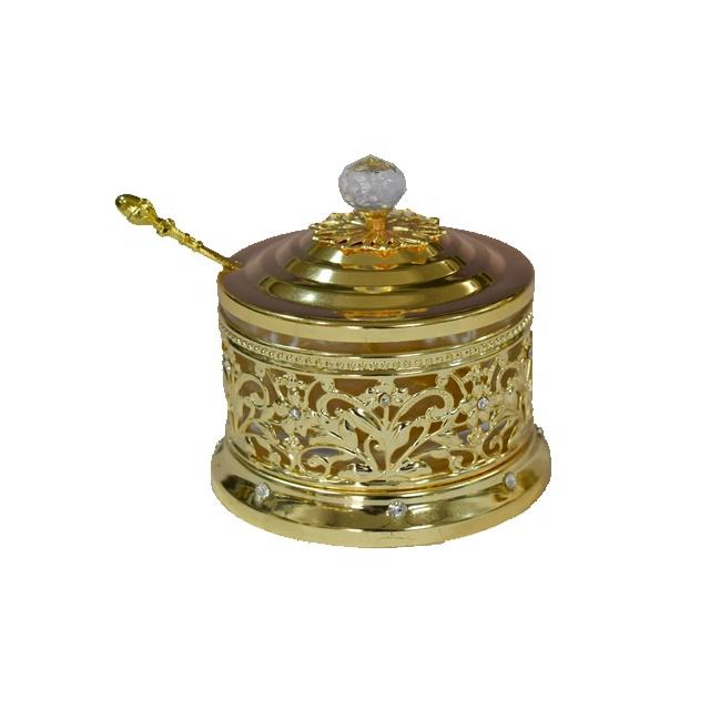 Household tableware metal gold frame glass sugar spice pot jar with spoon lid