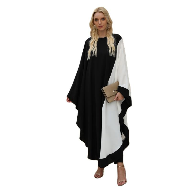S002 - most popular double color long modest women kaftan abaya dubai islamic clothing