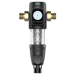 Domestic all-in-one whole-house tap water pre-processor to soften water quality, backwash, no perforation, corrosion resistance