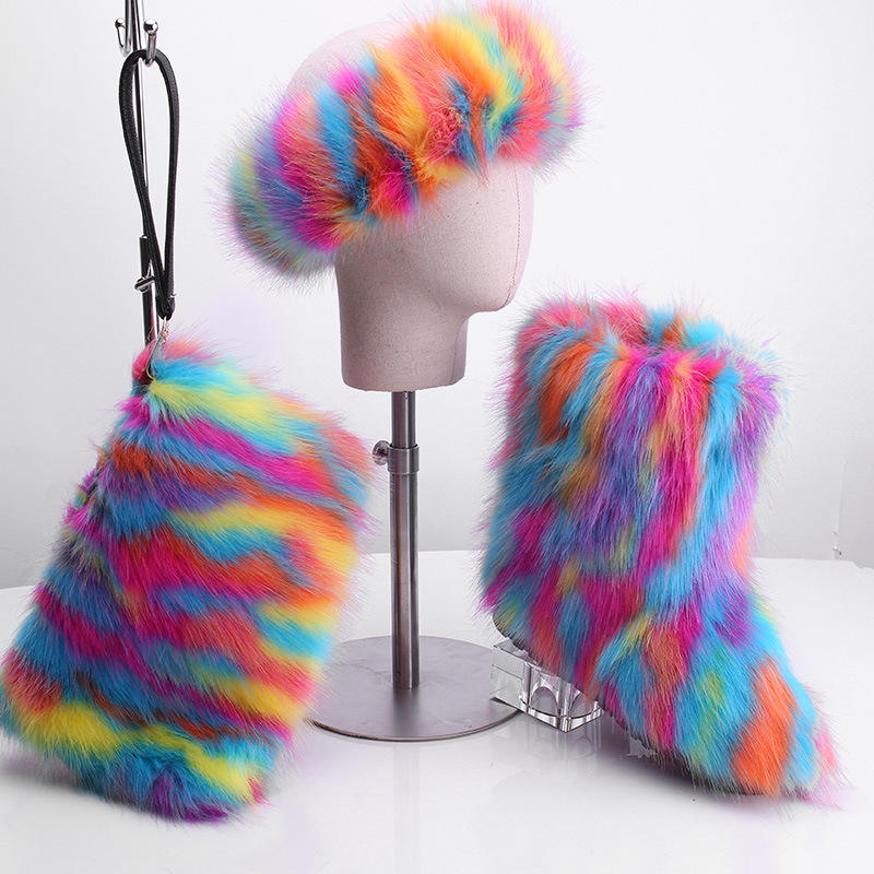 Superstarer Ladies fur winter boots wholesale women multi color fur boot set with headband and purse