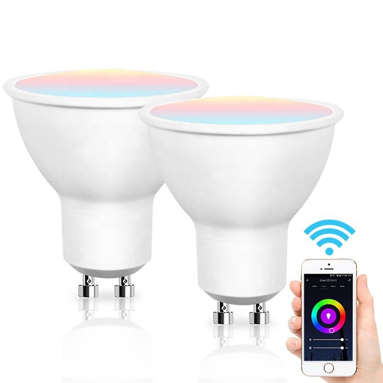 5W 400lm <span class=keywords><strong>GU10</strong></span> Dimbare Multicolor Wake-Up Wifi Smart Led Lamp Compatibel Met Alexa Google Home Ifttt voor Intelligenthome