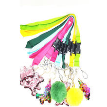 Hot sales China wholesale Polyester tool custom  logo lanyard keychain lanyard with pom poms