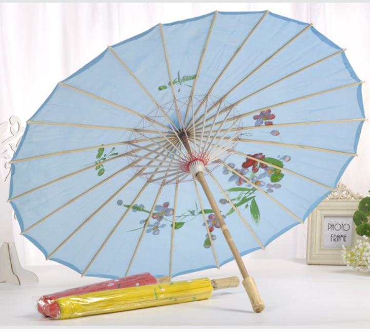 Wedding Favors Gifts Flowers Straight Bamboo Frame oilpaper Parasols Japanese Silk Umbrella