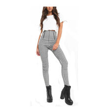 Autumn and Winter High waist slim fitted checkered skinny trousers black and white plaid women's pants