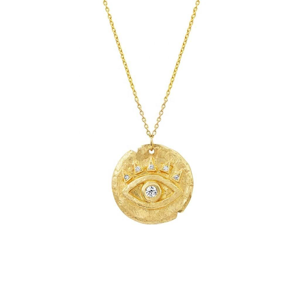 Boho Jewelry 925 Silver Gold Price Per Gram Diamond Zirconia Retro Eye Coin Pendant Necklace