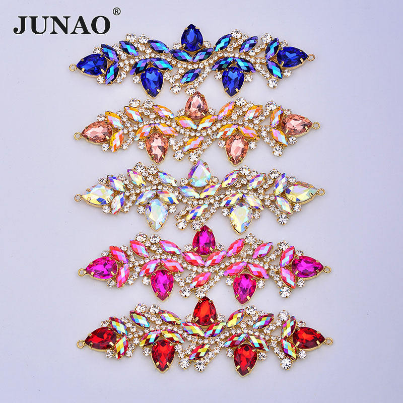JUNAO 45*140mm Sew On Rose AB Strass Bikini Connector Gold Claw Crystal Flower Applique Sewing Flatback Glass Rhinestone Chain