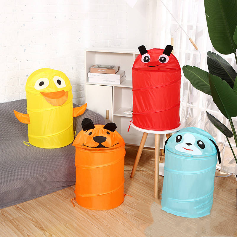 Collapsible Kids Animal Cute Colorful Laundry Tier Storage Basket Hamper