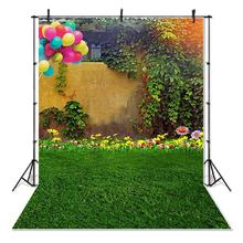 Spring Garden Green Grass Photography Backdrop Flowers Kids Children Photo Booth Background