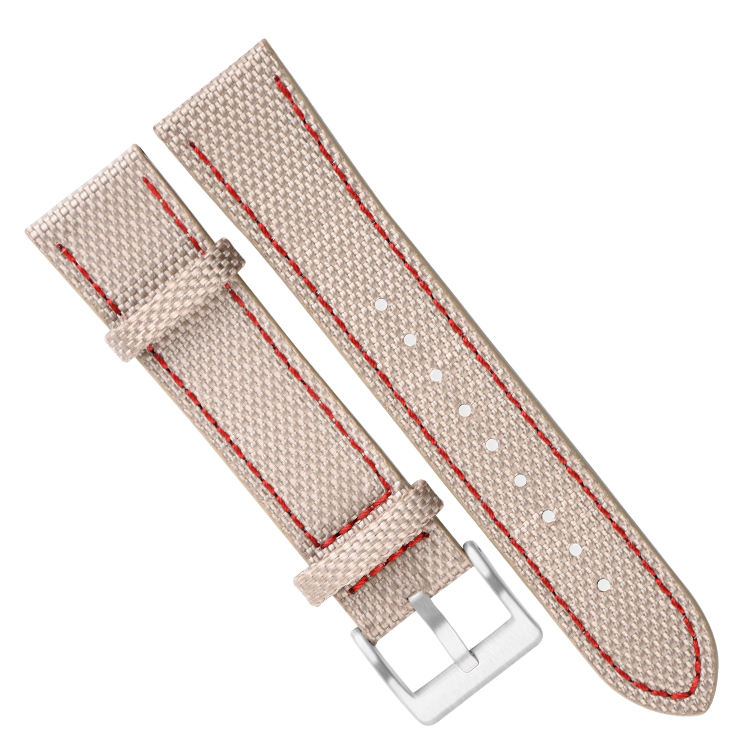 Fabriek Horloge Strap Tweedelige Riem Canvas Lederen Band