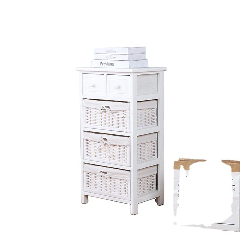 White industrial furniture wholesale storage cabinet with rattan basket