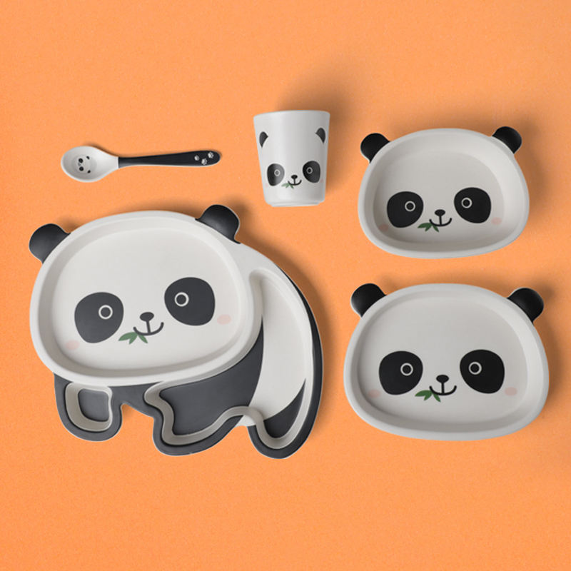 Panda Cartoon Children Set Household Style Tableware Bowl And Dish Combination A8 Melamine Tableware Kids Plates Set