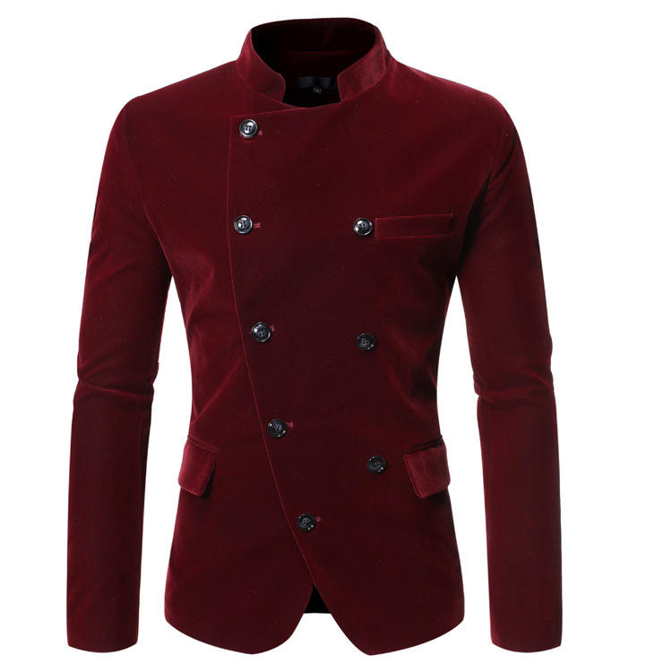 Wholesale Price Men Business Tops Red Color Plaid China Collar Blazer Casual Men's Blazer