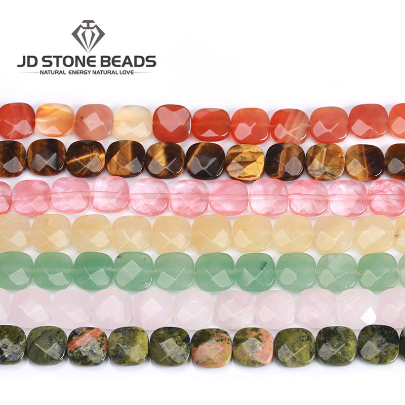 12*12mmNatural Faceted Onyx Jade Quartz Square Shape Gemstone Loose Stone Beads For Making Necklace Earring