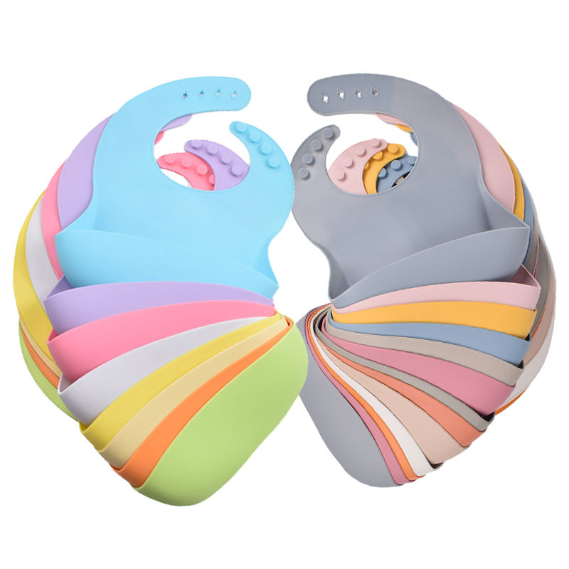 Wholesale Customized Blank Infant Babador Waterproof Bavaglino Baby Kids Body Large Feeding Bandana Baberos Silicone Baby Bib