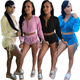 2020 Trend Ladies 2 Pcs Track Suits Hoodie Crop Tops Stacked Shorts Velvet Sport Women Clothing Two Piece Set