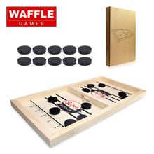 WAFFLE's Premium 2020 Portable Table Desktop Battle Pucket Board Hockey Game