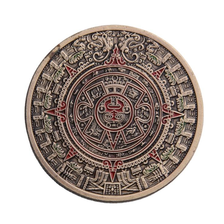 Aztec Mayan Copper Calendar Coin Custom Mexico America Myths and Legends Souvenir Enamel Old Coins