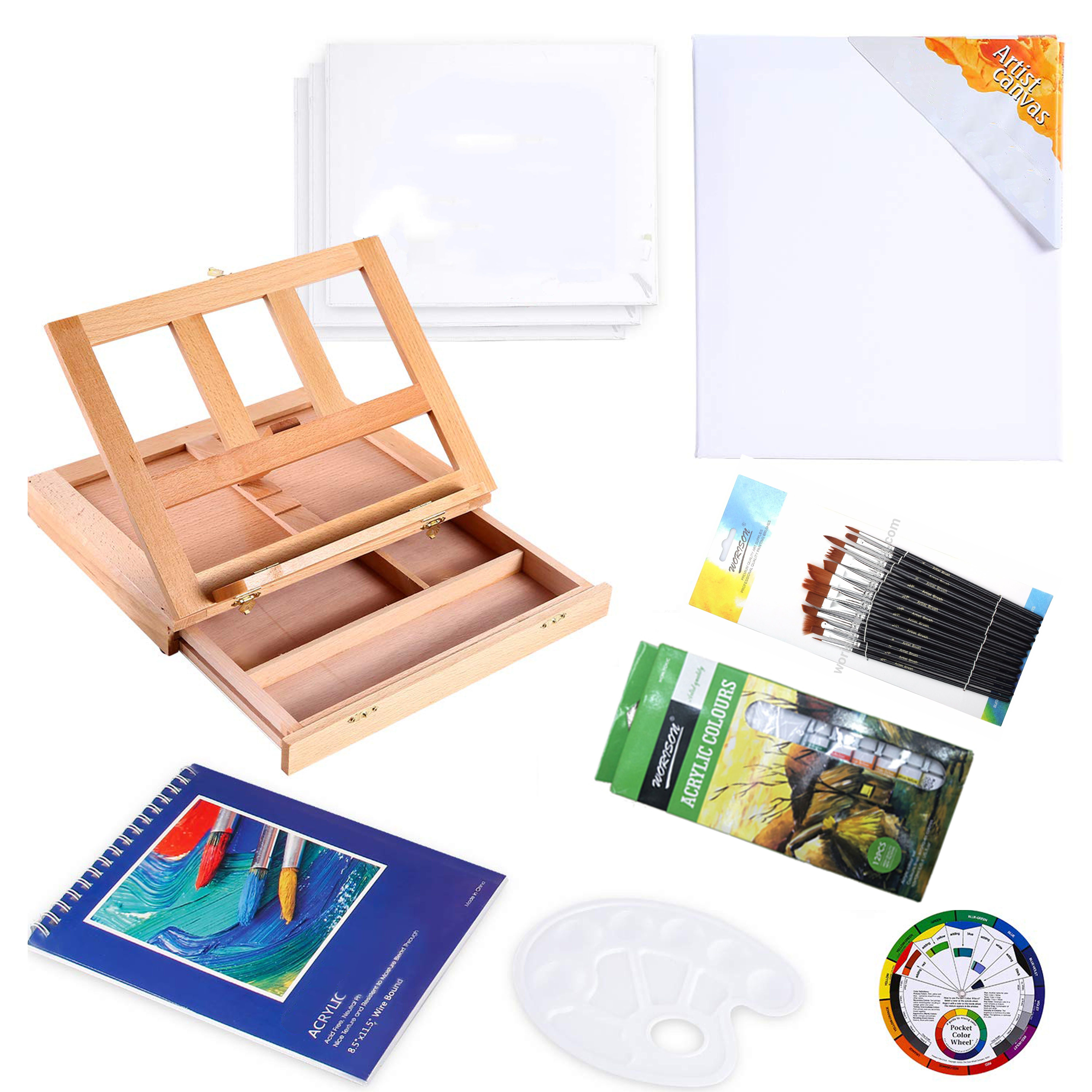 32Pcs Acrylic Artist Painting Set With Wood Table Top Easel Box Brushes Acrylic Paint And Acrylic Painting Pads For Art Supplies