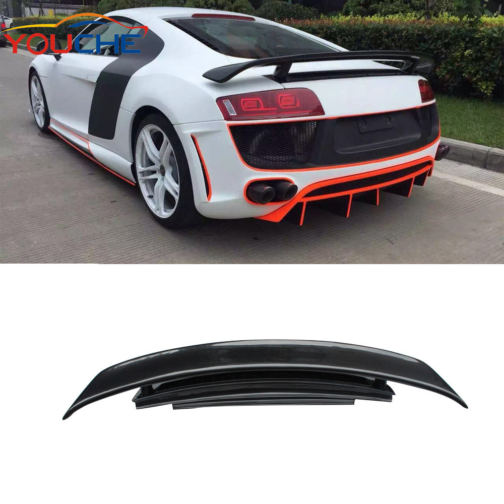 R8 spoiler GT style carbon fiber rear boot spoiler for Audi V8 V10 coupe 2008-2014 (not for convertible)