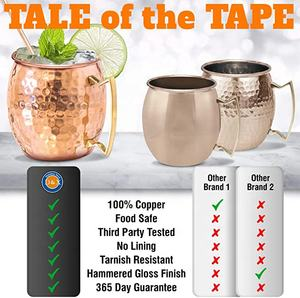 Amazon Hot 100%Pure Copper Party Cup Brass Handle moscow mule copper mugs set of 4