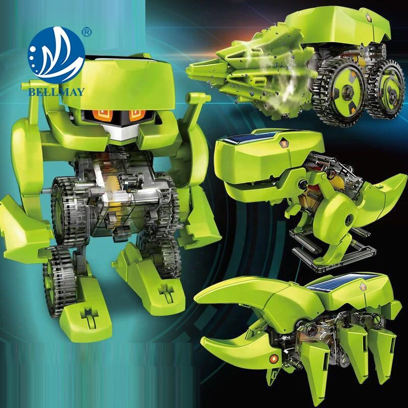 Bemay Toy Environmental Kid Plastic DIY Intelligent Deformed STEM 4 IN 1 Solar Toy Warrior In Puzzle Assembly Model