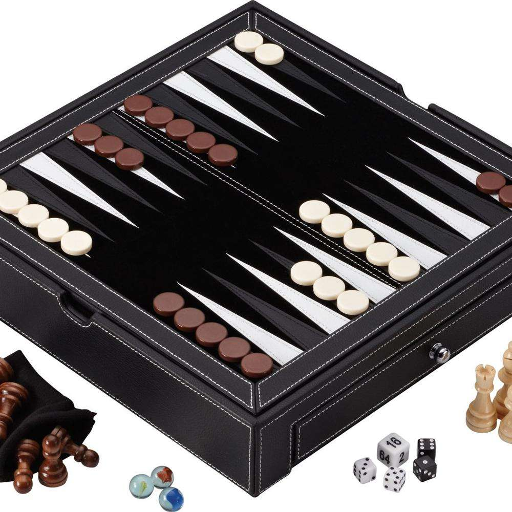SHBC New professional luxury Custom leather travel chess board, luxury leather chess board game set travel games