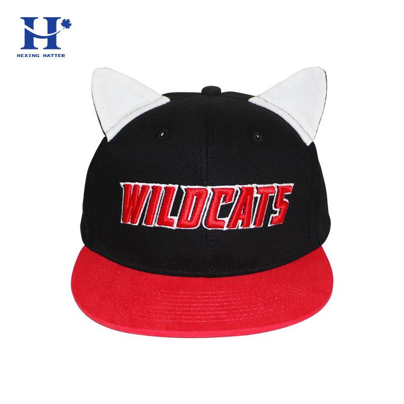 Модные детские клиент basecaps и вышитые логотип snapback Плоский Топ полосы милые уха детские мягкие дети животных шапки