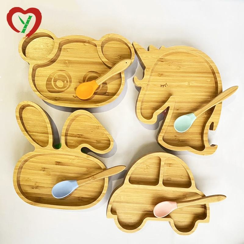 Animal Bamboo Kids Plate For Children Bamboo Plates With Silicone Suction