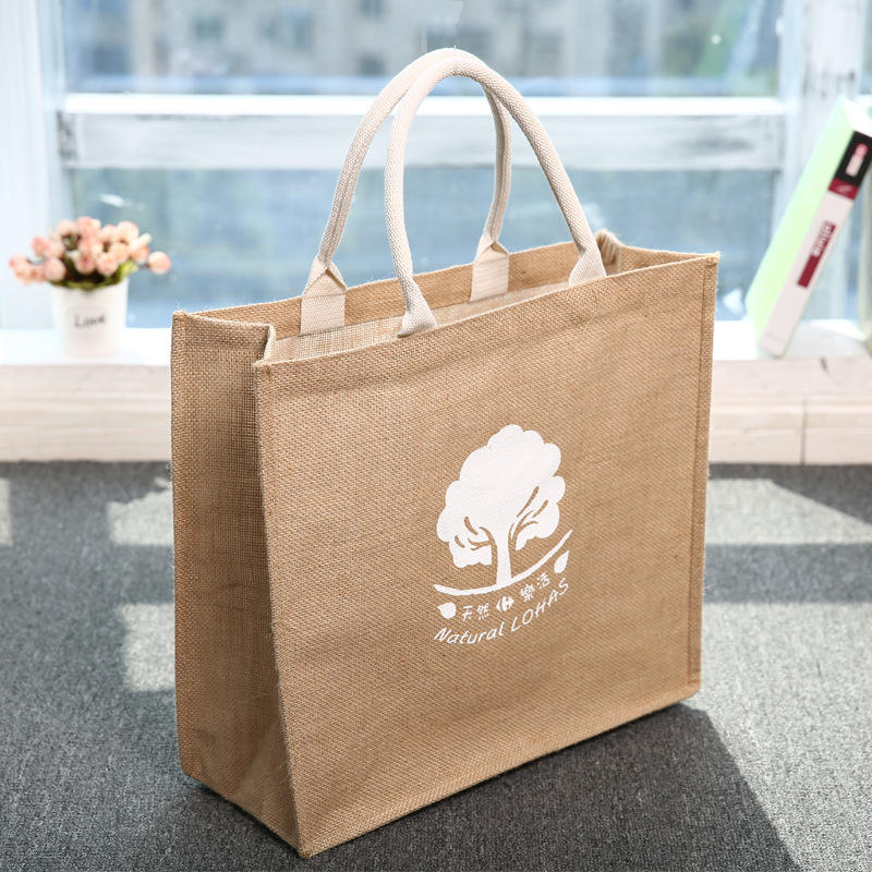 Factory supply waterproof burlap Eco Reusable Shopping tote hessian jute bags bangladesh
