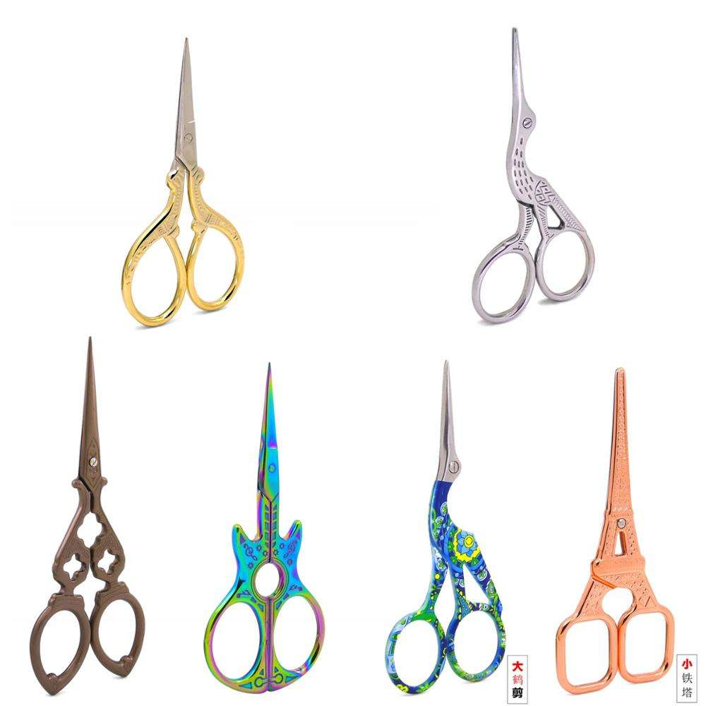Stainless Steel Vintage Classic Embroidery Scissors Nail Art Stork Crane Bird Scissors Cutters Tools