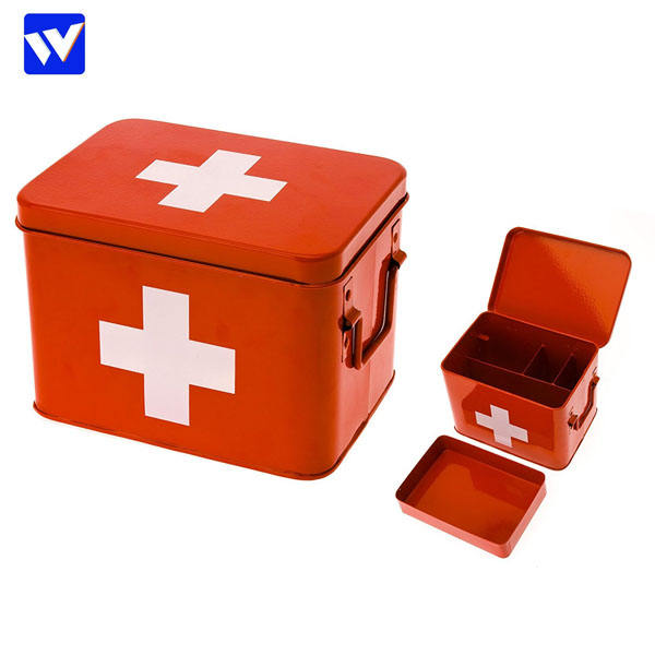 First Aid Box, Metal, RED, 21.5 x 16 x 16 cm by WEILONG