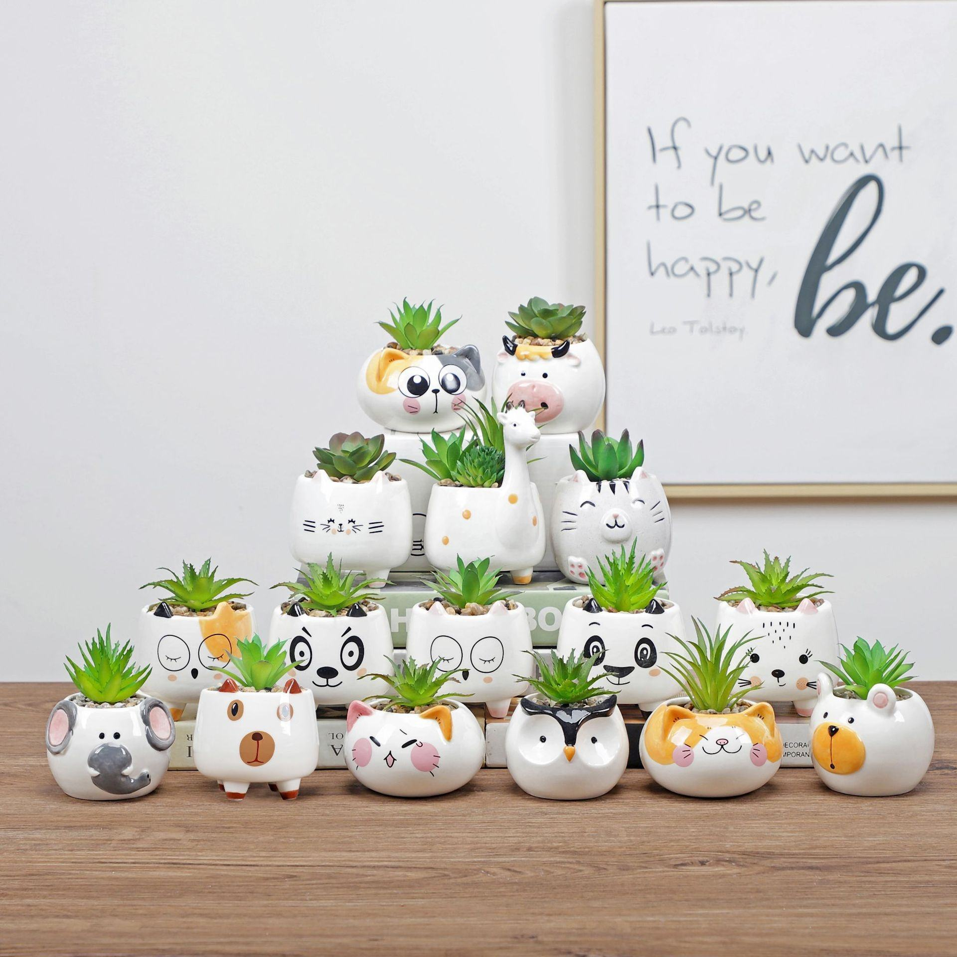 Wholesale Drop Shipping 20 shape Cartoon Animal Ceramic Flower pot cute Succulent Cactus Plant Pots Home Decor Garden Planter